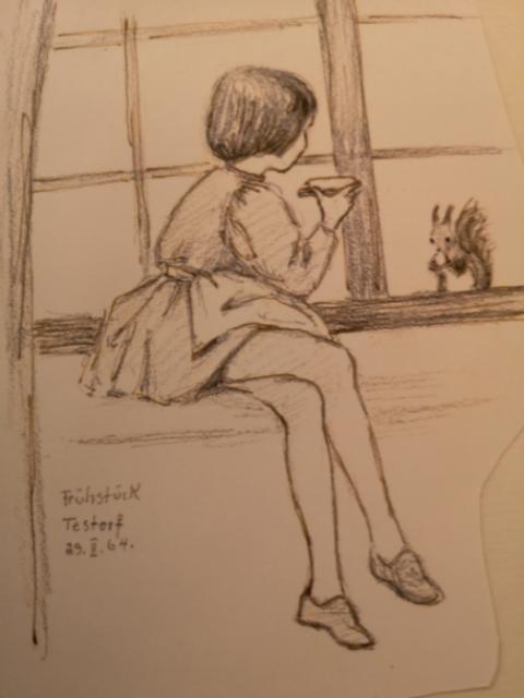 Zeichnung: Frühstück Testorf
